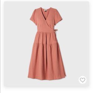 NWT Dusty Pink Tiered Faux Wrap Midi Dress